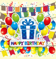 birthday with a rainbow and balloons vector image vector image