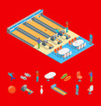 bowling alley and elrments isometric view vector image