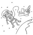 cartoon cat astronaut in black and white colors vector image