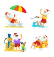 christmas elements of holiday with santa vector image