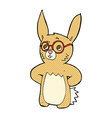 comic cartoon rabbit wearing spectacles vector image vector image
