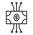 cryptocurrency banknote line icon vector image vector image