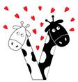 Cute cartoon black white giraffe boy and girl with vector image vector image