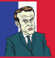 emmanuel macron cartoon caricature portrait vector image vector image
