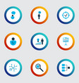 executive icons colored set with research vector image vector image