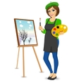 female painter artist holding palette and brush vector image vector image