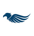 flat eagle head with wings icon design vector image