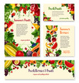 fruit berry banner template set for food design vector image