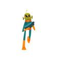 funny green alien with blaster humanoid cartoon