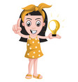 girl with lighting bulb on white background vector image vector image