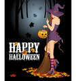 Halloween background with witch vector image vector image