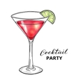 Hand drawn cocktail in martini glass with lime vector image vector image