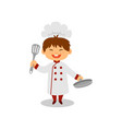 happy little cook with pan and spatula in hands vector image