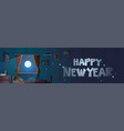 happy new year text in window from bedroom with vector image vector image