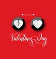 happy valentines day red round glasses with a vector image vector image