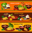 indian cuisine restaurant banner with thali dish vector image vector image