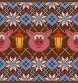knitted christmas pattern with pigs and lanterns vector image vector image