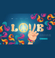 love cartoon landing with hippie hand show peace vector image