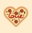 love for pizza heart shape concept design for vector image
