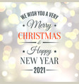 merry christmas and happy new year 2021 vector image vector image