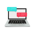 modern laptop with blank screen and chat bubbles vector image vector image