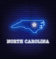 neon map state north carolina on a brick wall vector image vector image