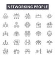 networking people line icons signs set vector image vector image