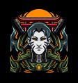 ninja cyborg esport mascot logo vector image vector image