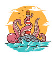 octopus and lighthouse vector image vector image