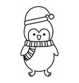 penguin with hat and scarf celebration merry vector image vector image