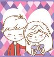 romantic love couple cute portrait background vector image