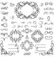 set curled calligraphic design elements vector image