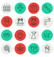 set of 16 holticulture icons includes shovel vector image vector image