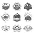 set of nine mountain and outdoor adventures vector image vector image