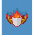 Shield with wings flame and Ribbon Heraldry vector image vector image
