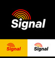 signal logo letters and emitting wave rainbow vector image