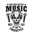 skull in headphones hip-hop music emblem vector image vector image