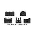 spain santiago de compostela flat travel skyline vector image vector image