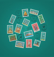 stamps with famous architectural compositions vector image