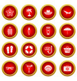 summer rest icon red circle set vector image vector image
