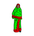 thin african woman with green red local costume vector image vector image