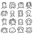 various doodle people faces set vector image vector image