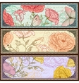 Vintage banners with handdrawn roses vector image vector image