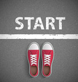 Vintage sneakers stand before inscription start vector image