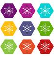 wheel of ship icon set color hexahedron vector image vector image
