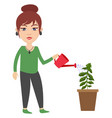 woman watering plant on white background vector image vector image
