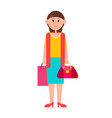 adult woman in casual clothes with shopping bag vector image
