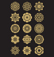 asian flowers icons set isolated on black vector image vector image