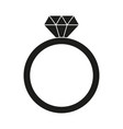 black and white diamond ring silhouette vector image