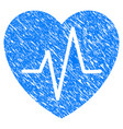 cardiology heart pulse grunge icon vector image vector image